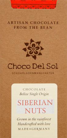 CHOCO DEL SOL   Dunkle Schokolade »Siberian Nuts« 82%   BIO