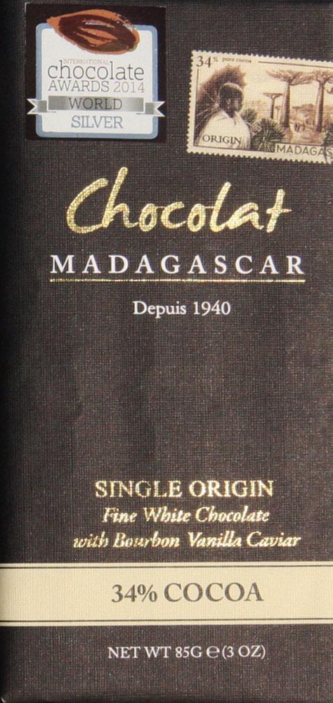 Chocolat MADAGASCAR   Weiße »Schokolade  & Bourbon Vanille« 37%