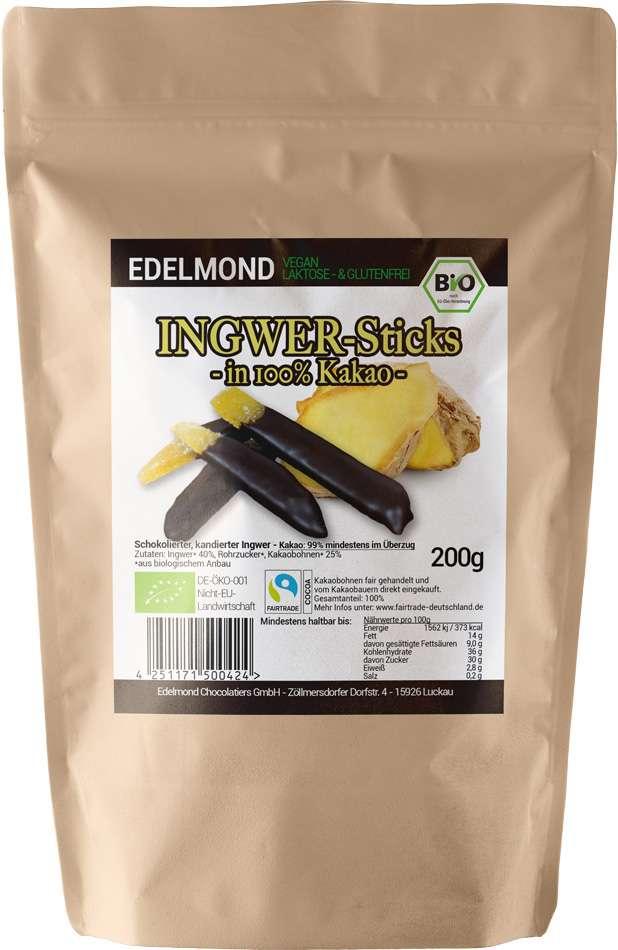 EDELMOND »Ingwer-Sticks in 100% Kakao« 200g | BIO