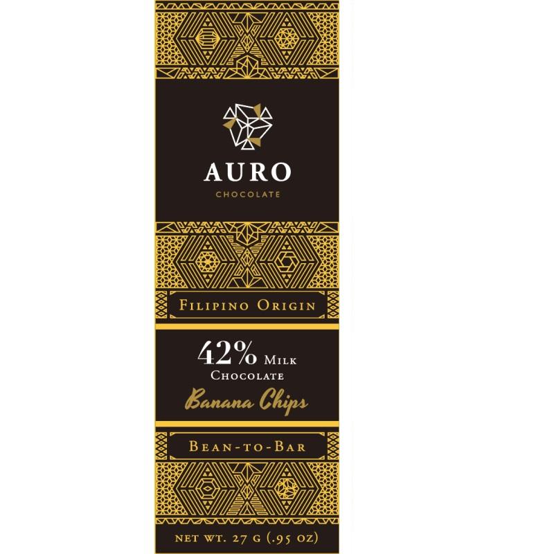 AURO Chocolate | Milchschokolade »Banana Chips« 42% 27g MHD 20.10.2021