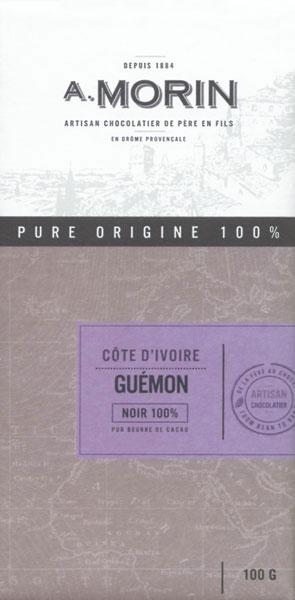A. MORIN Schokoladen   Dunkle Tafel »Guemon Elfenbeinküste« 100%
